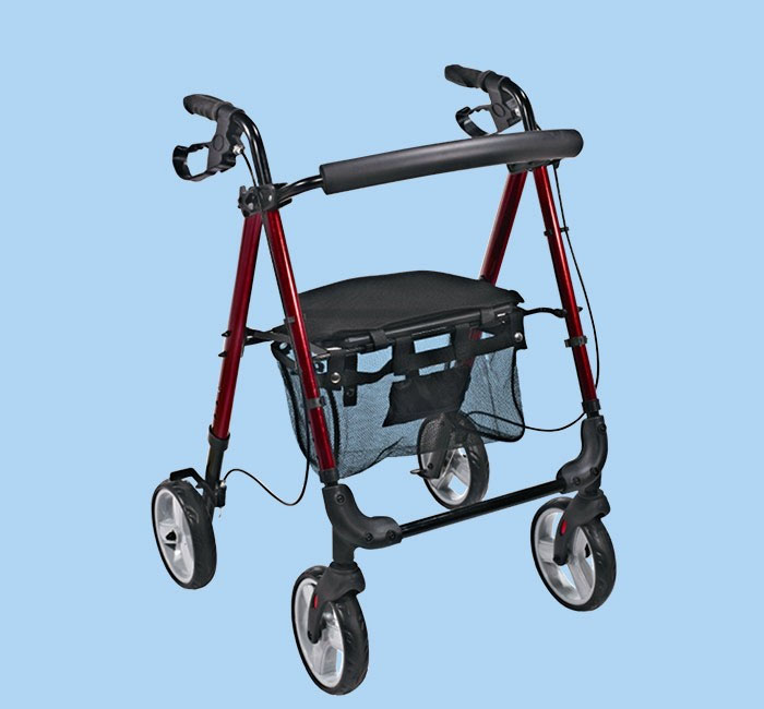 Wpożyczalnia łóżek dla chorych - podpórka rehabilitacyjna 4-kołowa, aluminiowa