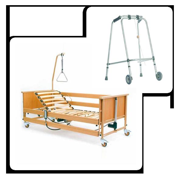 Wypożyczalnia łóżek dla chorych - zestaw łóżko rehabilitacyjne i balkonik
