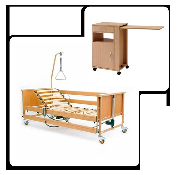 Wypożyczalnia łóżek dla chorych - zestaw łóżko rehabilitacyjne i szafka