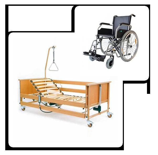 Łóżka rehabilitacyjne - zestaw łóżko rehabilitacyjne i wózek inwalidzki