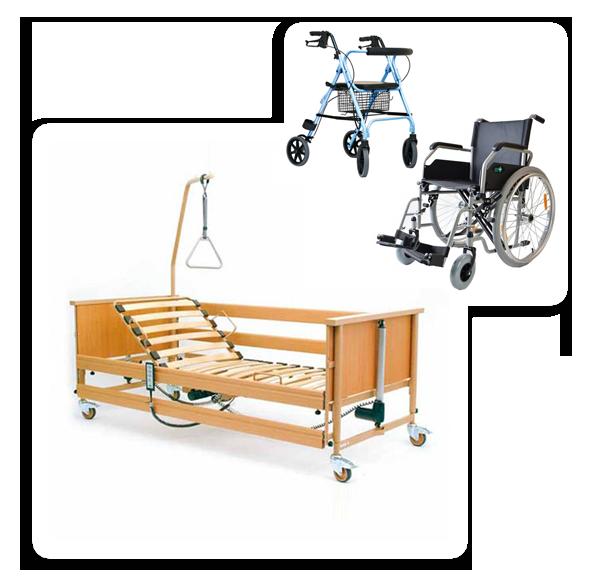 Łóżka rehabilitacyjne - zestaw łóżko rehabilitacyjne, wózek inwalidzki i chodzik